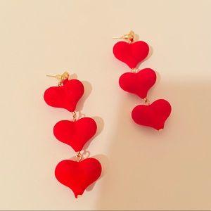 Velvet red hearts ♥️ super cute pair of earrings